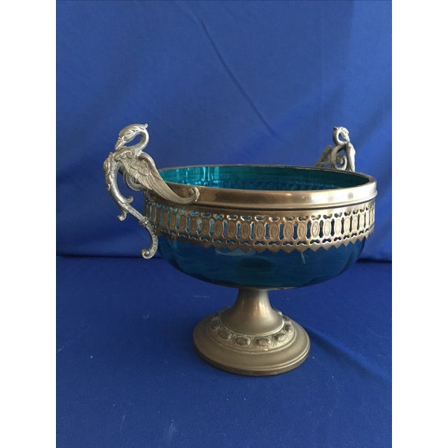 Blue Glass Compote with Dragon Handles - Image 5 of 10