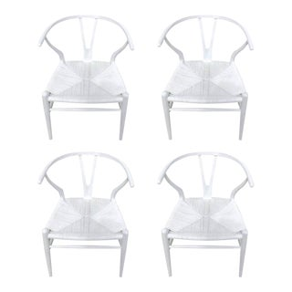 Hans Wegner Wishbone Chairs, CH24 in White - Set of 4