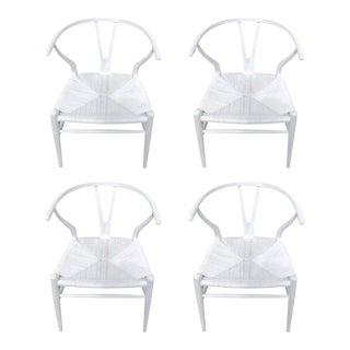 Hans Wegner Wishbone Chairs, CH24 in White - Set of 4