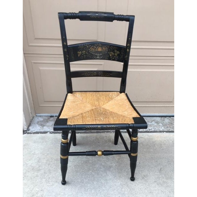Hitchcock Style Painted Stenciled Rush Chairs - 2 - Image 8 of 9