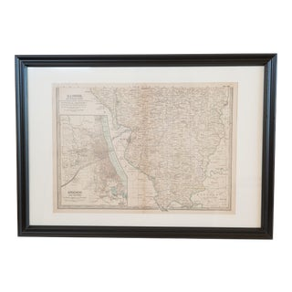 Hand Colored Antique Map of Illinois/Chicago