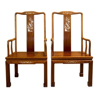 Asian Elm Chairs With Inlay - A Pair