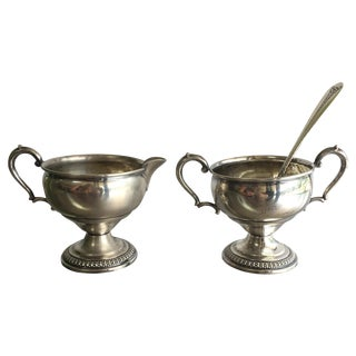 Sterling Silver Creamer, Sugar, & Spoon - Set of 3