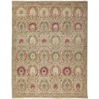 """New Pink Suzani Hand-Knotted Rug - 9'1"""" x 10'3"""""""