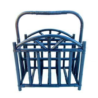 Vintage Navy Blue Rattan Magazine Rack