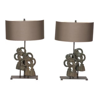 Pair Custom Designed Iron Bow Lamps