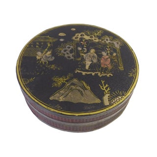 Chinese Black Lacquer Scenery Painting Round Box
