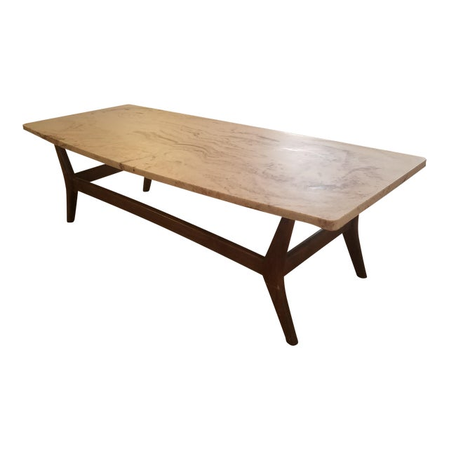 Mid-Century Marble Top Cocktail Table - Image 1 of 8