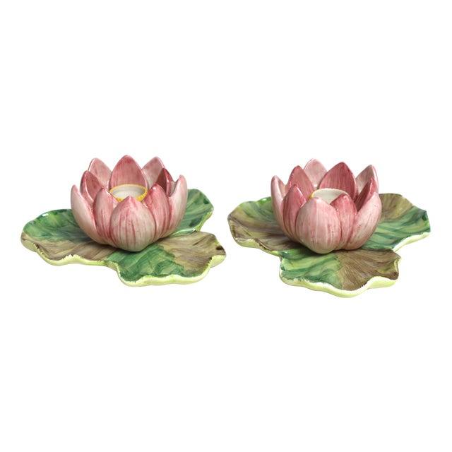 Image of Fitz & Floyd Pink Lotus Candleholders - A Pair