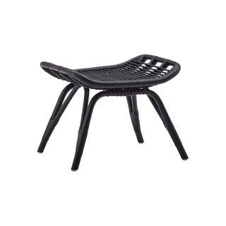 Black Rattan Footstool