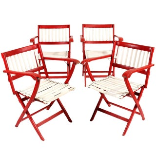 1950s Fratelli Reguitti Folding Deck Chairs - Set of 4