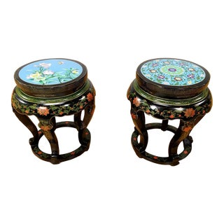 Antique Chinese Cloisonne Stands - A Pair