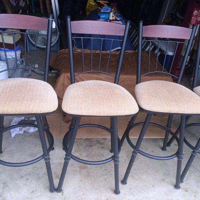 Swivel Metal Bar Stools With Cushion - Set of 4 - Image 5 of 7