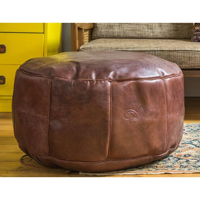 Antique Revival Whiskey Brown Leather Pouf Ottoman - Image 2 of 7