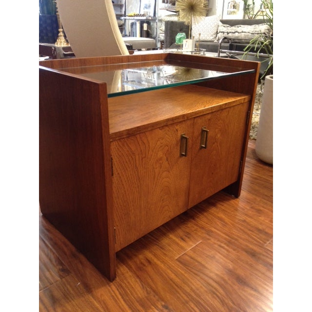 Vintage Modern Nightstand with Glass Shelf - Image 3 of 3