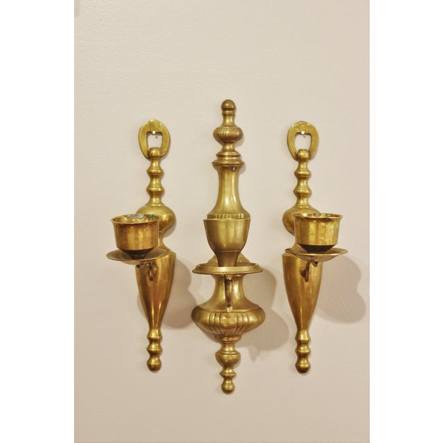 Vintage Brass Wall Sconces - Set of 3 - Image 3 of 6