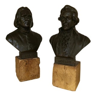 Musician Busts of Mozart and Liszt - A Pair