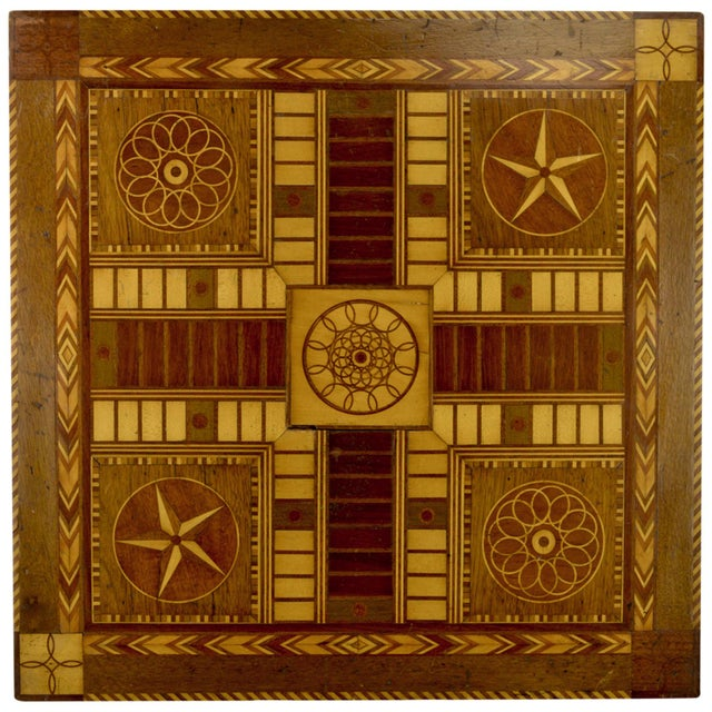 Antique 19th C. Inlaid Wooden Game Board - Image 1 of 9