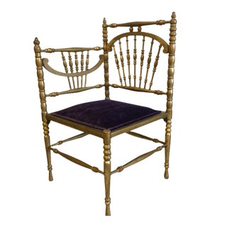 Vintage Gold Leaf Spindle Corner Chair