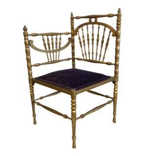 Vintage Gold Leaf Spindle Corner Chair