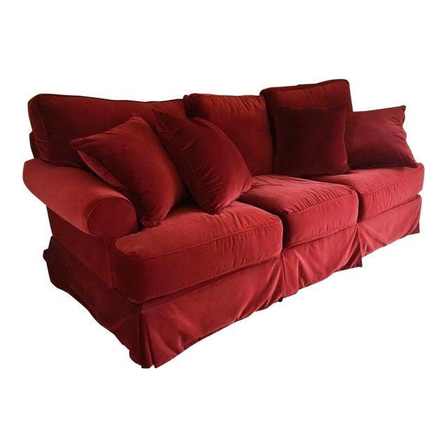 Red Velvet Standard Sofa - Image 1 of 3
