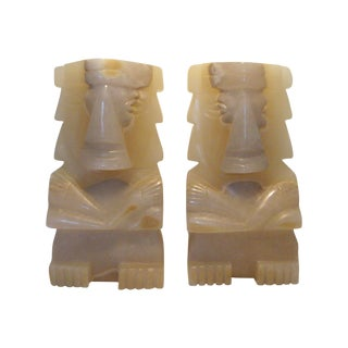 Monumental Aztec Onyx Bookend Statues