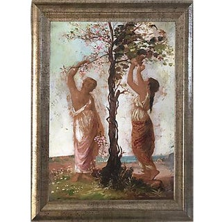 Italian Antique Oil Painting Maidens Picking Grapes and Flowers