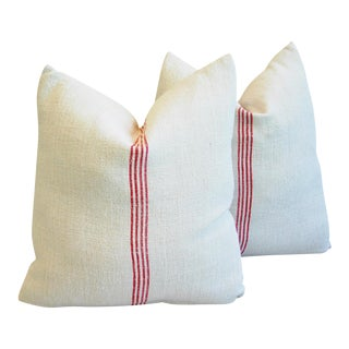 Vintage French Grain Sack Textile Pillows - a Pair
