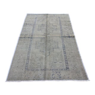 Mid 20th C. Vintage Antique Tribal Oushak Neutral Soft Hand Knotted Turkish Rug - 4'6 X 7'
