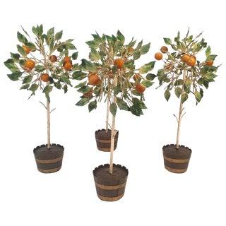 Set of 4 Italian Tole Orange Trees in Planters