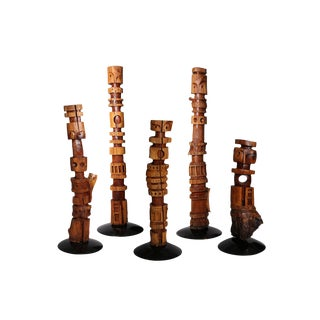 Five Monumental Kathy Haun Solid Walnut Ancestral Totems