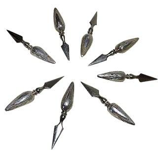 Antique Sterling Silver Corn Cob Holders - Set of 8