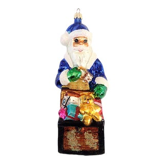 Christopher Radko Blue Santa With Chest Ornament c. 1999