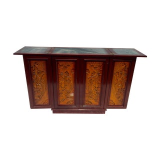 Carved Asian Fold-Out Bar