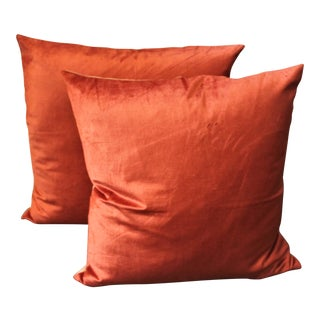 Silky Coral Velvet Pillows, Pair