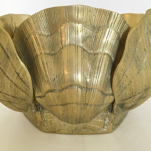Large Brass Shell Planter - Image 3 of 7