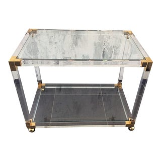 Tres Chic 1970's Lucite & Brass Rolling Table