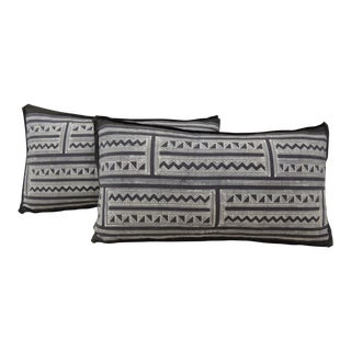 Pair of Vintage Graphic Pattern Batik Lumbar Decorative Pillows.