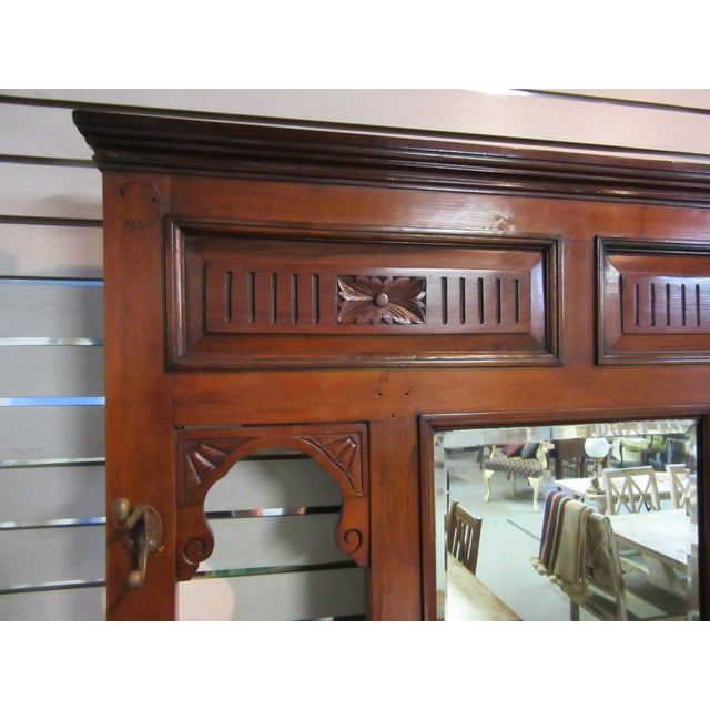 Antique Victorian 1800s Walnut Hall Mirror Stand - Image 10 of 11