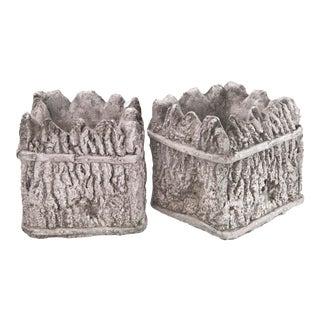 Vintage Inspired Faux Bois Cast Concrete Planters- A Pair