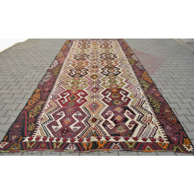 "Hand-Woven Turkish Kilim Rug - 7'2"" x 16'3"" - Image 2 of 11"