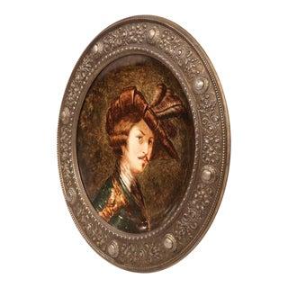 19th Century German Round Painted Porcelain Platter