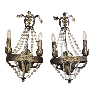 Gold Leaf & Beaded Sconces - A Pair