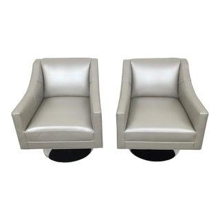 Mitchell Gold & Bob Williams Modern Silver Swivel Chairs - A Pair