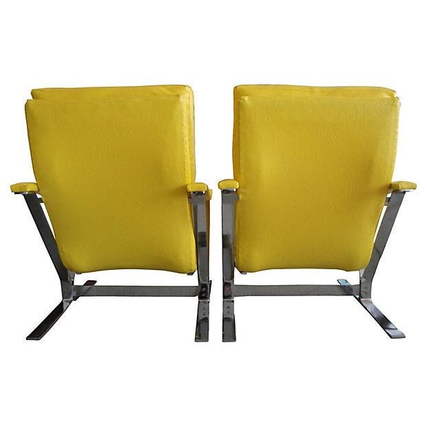 Yellow Naugahyde Armchairs - A Pair - Image 5 of 6