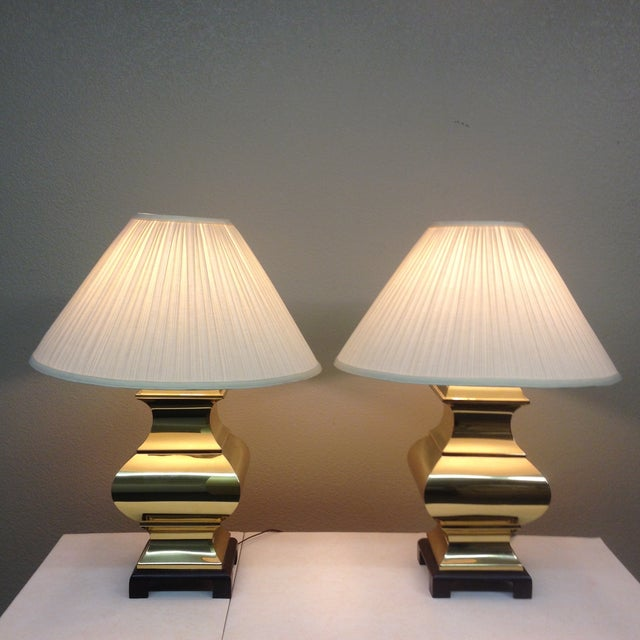 Large Brass Asian Table Lamps - A Pair - Image 3 of 9