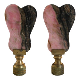 Pair of Mid-Century Pink and Black Agate Lamp Finials