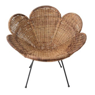 Vintage Rattan and Iron Flower Chair by Salterini