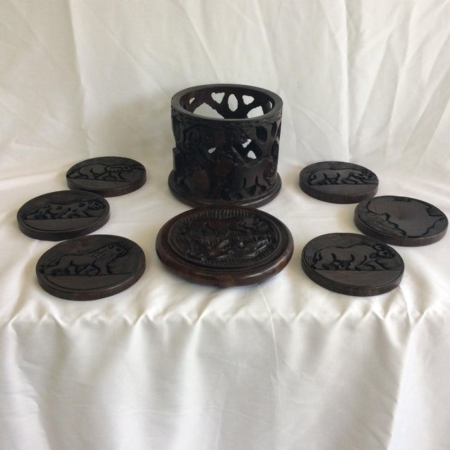 Indonesia Wooden Hand Carved Coasters - Set of 6 - Image 2 of 8