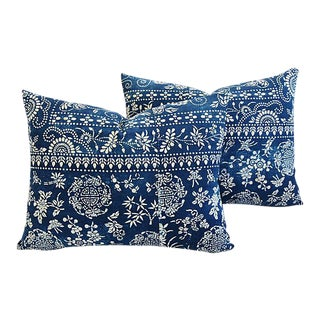 Boho Chic Shanghai Batik Chinoiserie Feather/Down Pillows - Pair